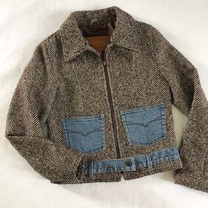 Guess S Wool Tweed Jacket Denim Pockets Zip Up
